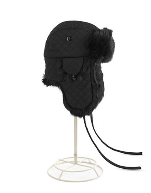 Crown Cap Diamond Quilted Aviator with Real Rabbit Fur Trim - Black