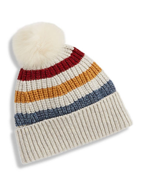 Hudson'S Bay Company Luxe Fox Fur Pompom Tuque - Multi Stripe