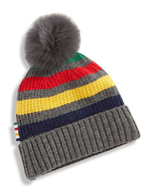 Hudson'S Bay Company Silverlake Fox Fur Pompom Tuque - Grey Multi