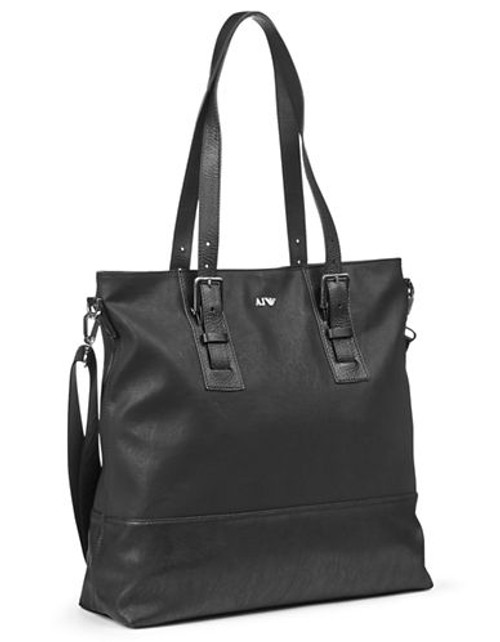 Armani Jeans Mixed Media Leather Tote Bag - Blue