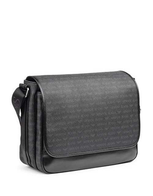 Armani Jeans Large Monogram Messenger - Black