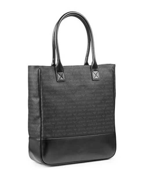 Armani Jeans Large Monogram Tote - Black