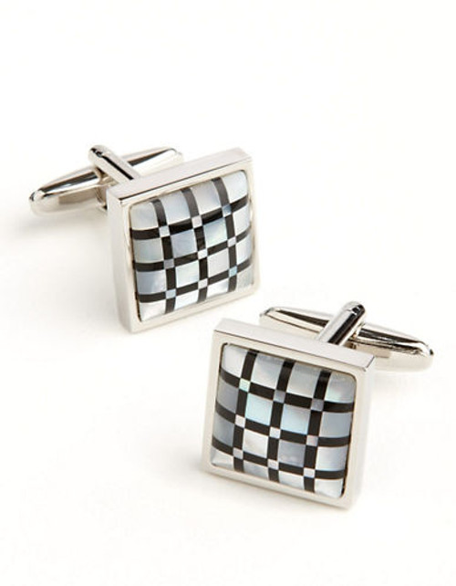 Black Brown 1826 Checkerboard Cuff Links - Black & White