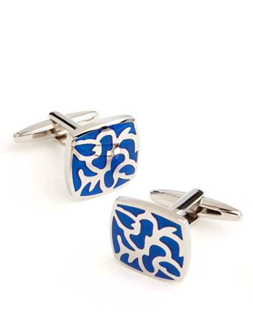 Black Brown 1826 Enamel Cuff Links - Blue