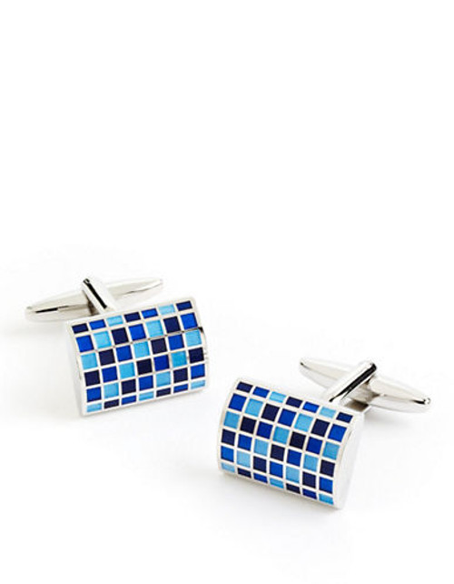 Black Brown 1826 Domed Harlequin Cufflinks - Blue