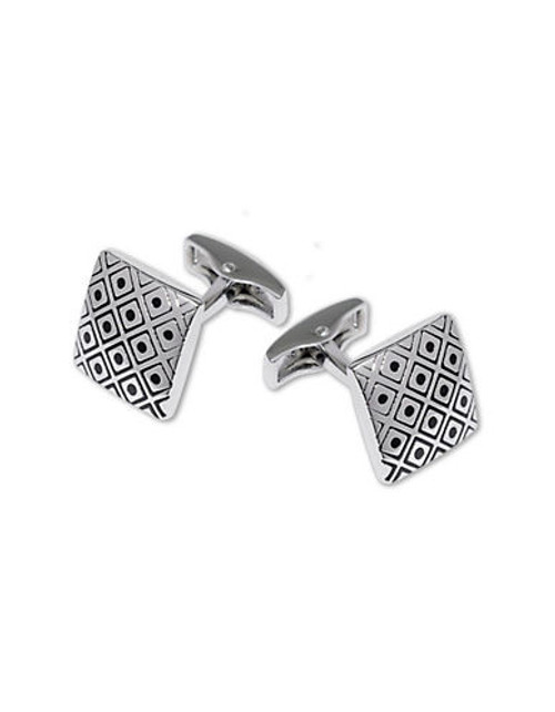 Black Brown 1826 Etched Center Dot Cufflinks - Silver