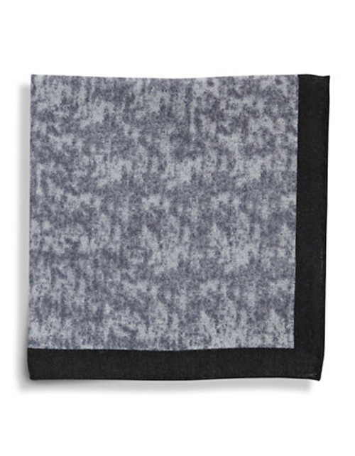 Black Brown 1826 Wool Heathered Pocket Square with Border - Grey