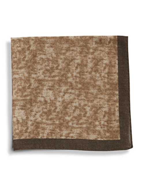 Black Brown 1826 Wool Heathered Pocket Square with Border - Copper