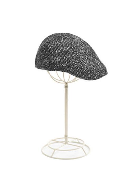 Black Brown 1826 Brushed Herringbone Flat Cap - Black/Grey - Large