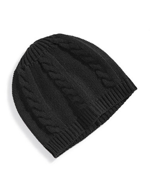 Black Brown 1826 Cable Knit Tuque - Black