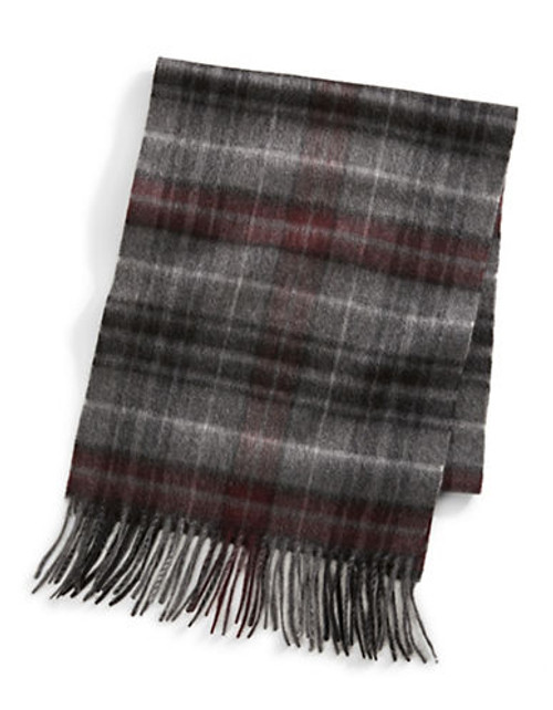 Black Brown 1826 Cashmere Scarf - Burgundy/Grey