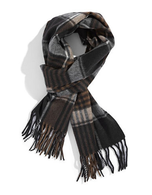 Black Brown 1826 Cashmere Plaid Scarf - Black/Brown