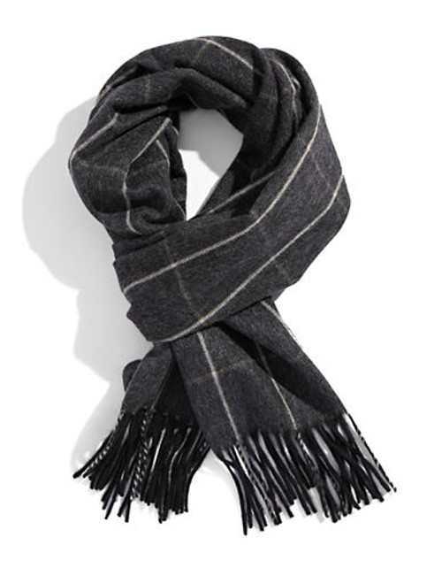 Black Brown 1826 Cashmere Check Scarf - Charcoal