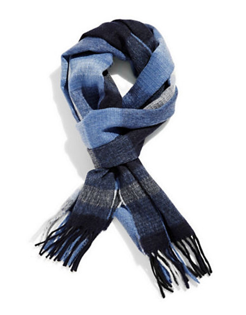 Black Brown 1826 Cashmere Plaid Scarf - Blue