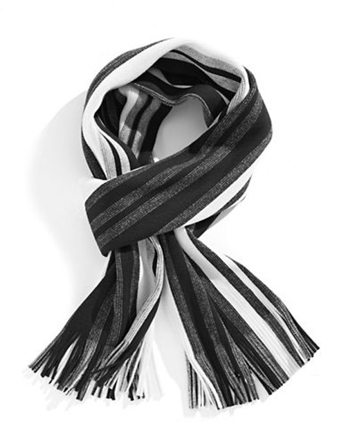 Black Brown 1826 Bold Striped Scarf - Black