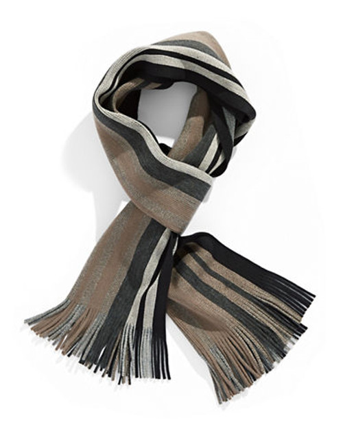 Black Brown 1826 Bold Striped Scarf - Taupe