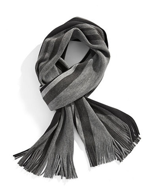 Black Brown 1826 Bold Striped Scarf - Grey