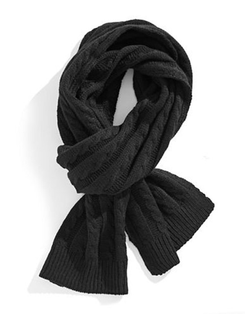 Black Brown 1826 Cable Knit Scarf - Black