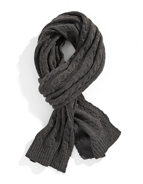 Black Brown 1826 Cable Knit Scarf - Grey