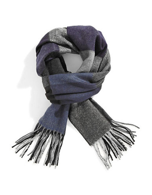 Black Brown 1826 Checkered Blanket Scarf - Blue