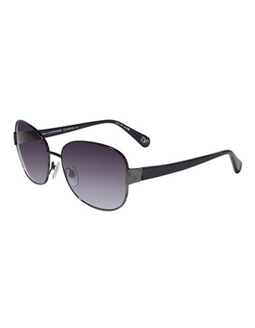 Diane Von Furstenberg Square Aviator Sunglasses - Black