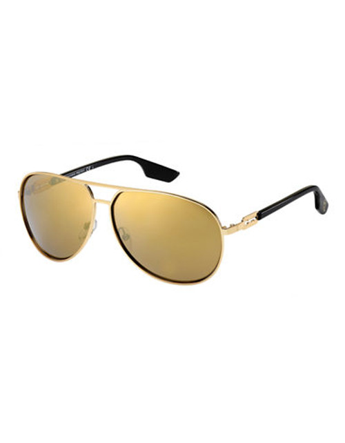 Alexander Mcqueen Aviator Sunglass MCQ0009/S - Gold Mirrored