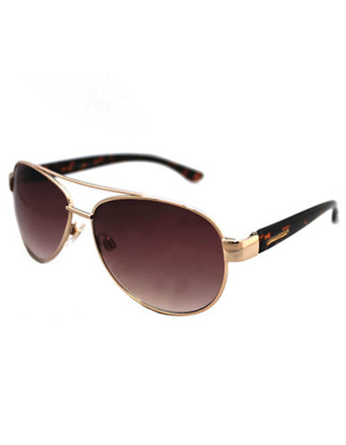 Alfred Sung Ladies Metal Aviator with Plastic Temples - Gold