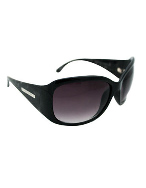 Alfred Sung Ladies Large Plastic Wrap Sunglasses - Black