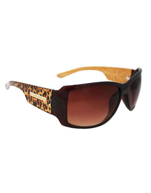 Alfred Sung Ladies Plastic Rectangle With Leopard Printed Temple Sunglasses - Brown