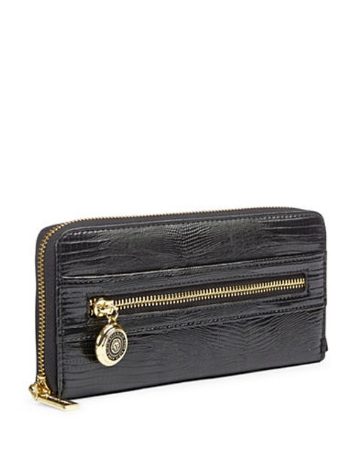 Anne Klein Leo Lizard II Zip Around Wallet - Black