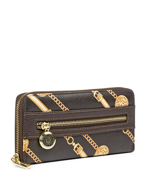 Anne Klein Leo Lizard II Zip Around Wallet - Coco/Gold/Bark