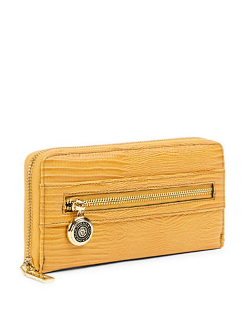 Anne Klein Leo Lizard II Zip Around Wallet - Mustard