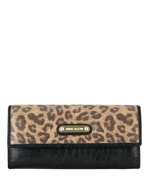 Anne Klein Alligator Alley Small Continental Wallet - Camel/Black