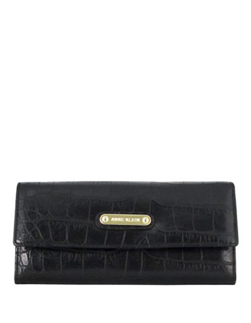 Anne Klein Alligator Alley Continental Wallet - Black