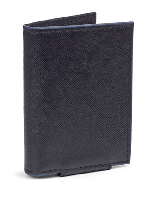 Black Brown 1826 Leather Contrast Trim Card Case - Black