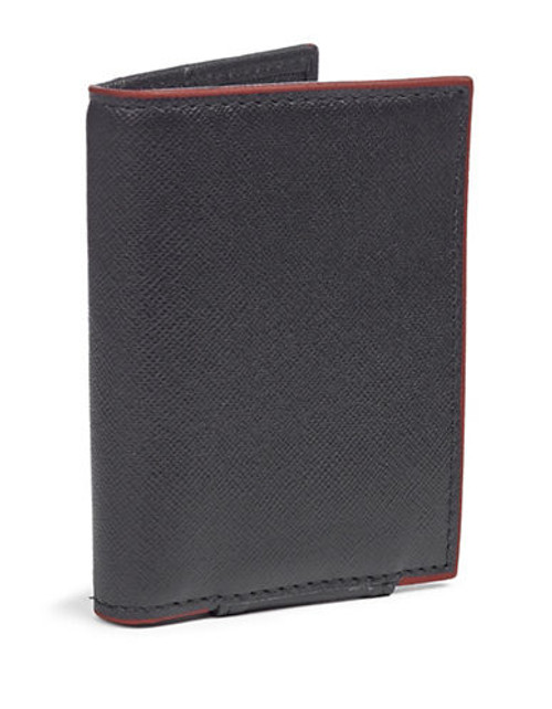 Black Brown 1826 Leather Contrast Trim Card Case - Blue