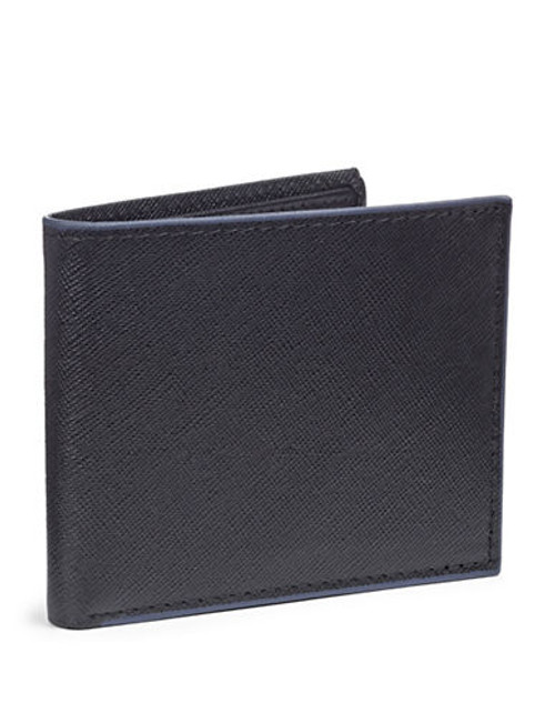 Black Brown 1826 Leather Contrast Trim ID Billfold - Blue