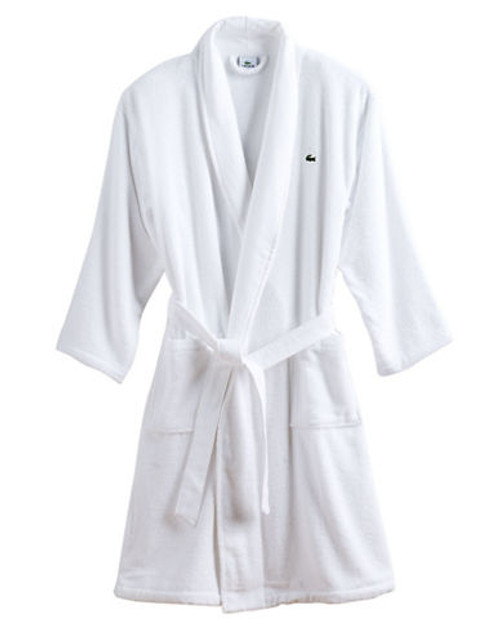 Lacoste Mens Textured Terry Robe - White