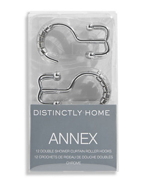 Distinctly Home Annex Set of 12 Double Shower Curtain Hooks - Silver