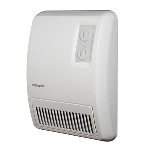 White Deluxe Wall Mount Electric Fan Heater –240 Volts