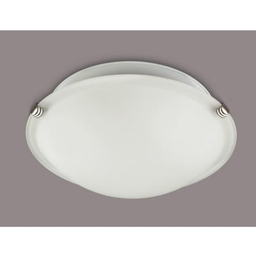 1-Light Brushed Pewter Flushmount With Opal Glass