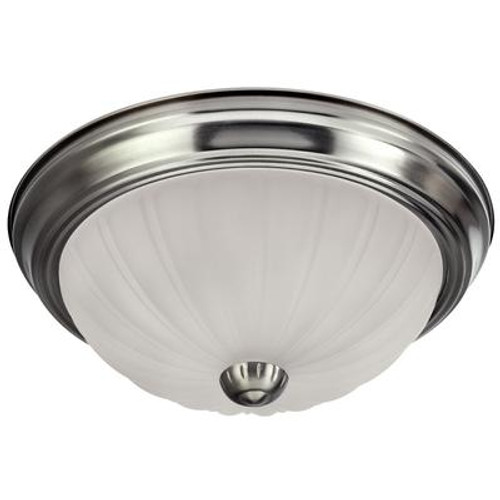 1-Light Brushed Pewter Flushmount with Frosted Glass