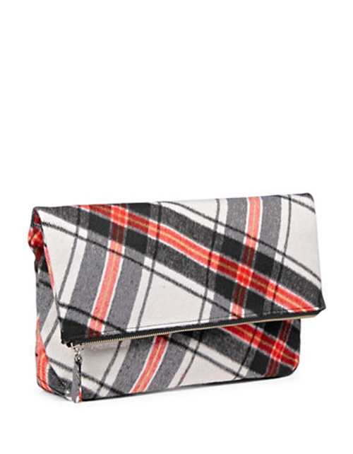 424 Fifth Plaid Fold Over Clutch - RED