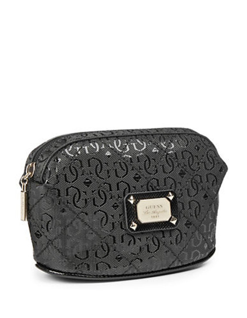 Guess Juliet Quilted Signature Cosmetics Pouch - Black