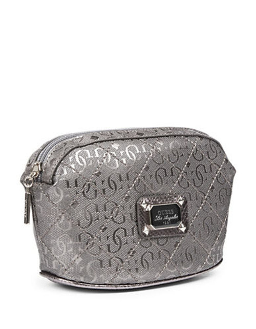 Guess Juliet Metallic Quilted Signature Cosmetics Pouch - Silver