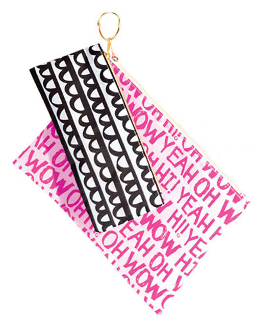 Bando Set of 2 Carryall Patterned Pouches - Black/White