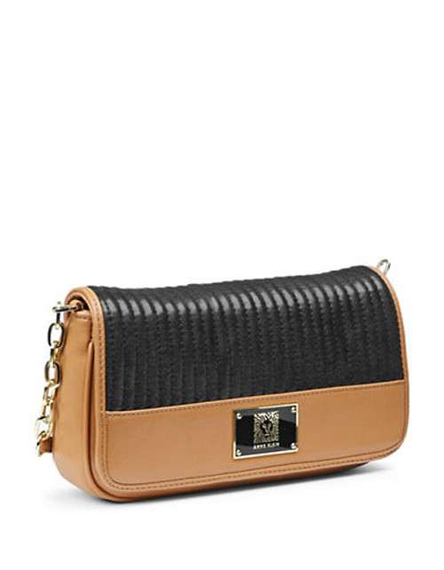 Anne Klein Change The Channel II Quilted Crossbody - Black/Camel