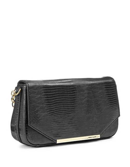Anne Klein Leo Lizard II Shoulder Bag - Black