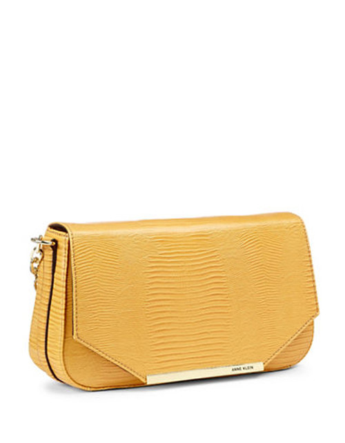 Anne Klein Leo Lizard II Shoulder Bag - Mustard