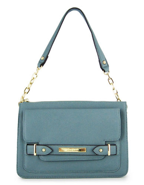 Anne Klein Military Luxe Tab Front Handbag - Blue Belle